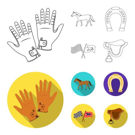 レース、トラック、馬、動物.輪郭、フラットスタイルベクトルシンボルストックイラストウェブでヒッポドロームと馬セットコレクションアイコン。