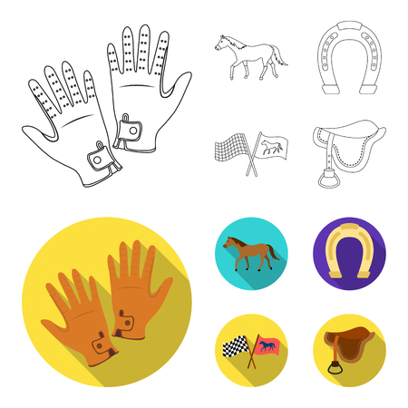 Race, track, horse, animal .Hippodrome and horse set collection icons in outline,flat style vector symbol stock illustration web.