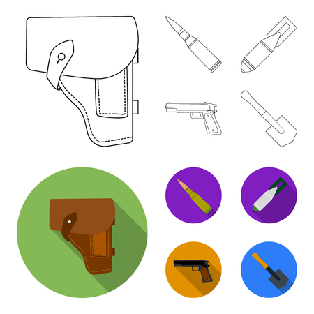 Holster, cartridge, air bomb, pistol. Military and army set collection icons in outline,flat style vector symbol stock illustration web.