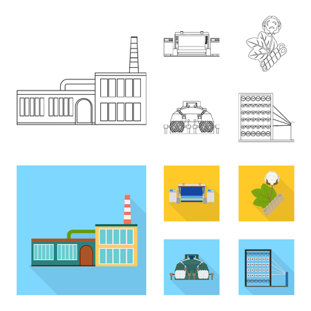 Factory, enterprise, buildings and other web icon in outline,flat style. Textile, industry, fabric icons in set collection.