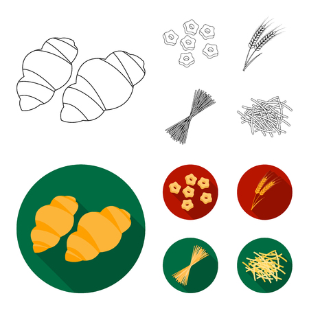 Different types of pasta. Types of pasta set collection icons in outline,flat style vector symbol stock illustration web. Vettoriali