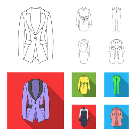 Women Clothing outline,flat icons in set collection for design.Clothing Varieties and Accessories vector symbol stock web illustration. Illustration