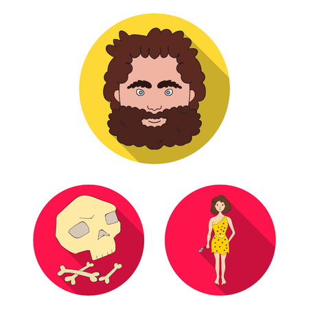 Life in the Stone Age flat icons in set collection for design. Ancient people bitmap symbol stock  illustration.
