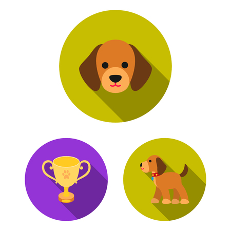 Pet dog flat icons in set collection for design. Caring for the puppy bitmap symbol stock  illustration.