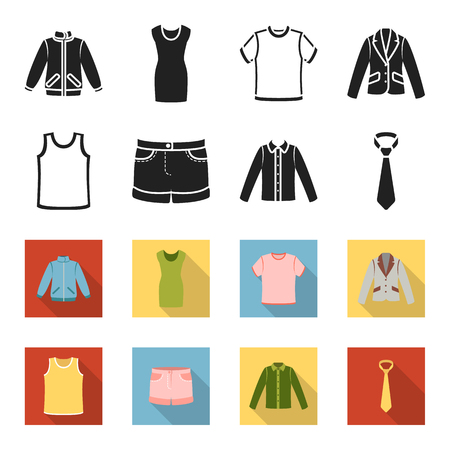 Shirt with long sleeves, shorts, T-shirt, tie.Clothing set collection icons in black,flet style bitmap symbol stock illustration . Stockfoto