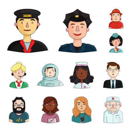 People of different professions cartoon icons in set collection for design. Worker and specialist bitmap symbol stock  illustration.