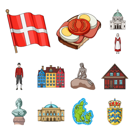 Country Denmark cartoon icons in set collection for design. Travel and attractions Denmark bitmap symbol stock illustration.