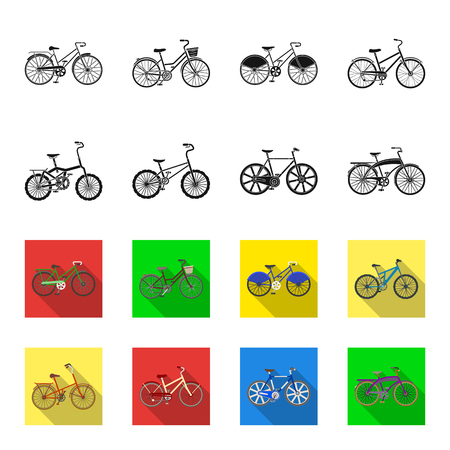 Childrens bicycle and other kinds.Different bicycles set collection icons in black,flet style bitmap symbol stock illustration . Zdjęcie Seryjne