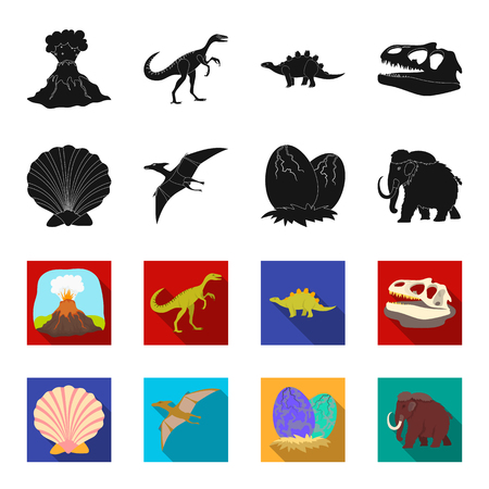 Prehistoric shell, dinosaur eggs,pterodactyl, mammoth. Dinosaur and prehistoric period set collection icons in black,flet style bitmap symbol stock illustration . Фото со стока