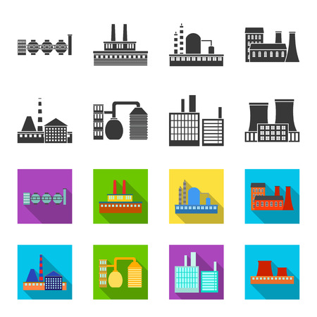 Industry, production.Factory set collection icons in black,flet style bitmap symbol stock illustration web. Zdjęcie Seryjne