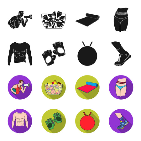 Mens torso, gymnastic gloves, jumping ball, sneakers. Fitnes set collection icons in black,flet style bitmap symbol stock illustration web.