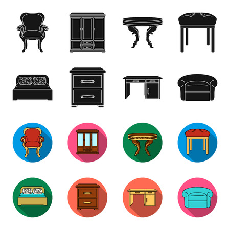 Interior, design, bed, bedroom .Furniture and home interiorset collection icons in black,flet style bitmap symbol stock illustration web.