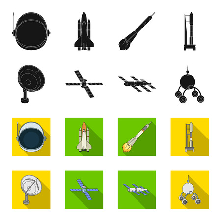 Radio radar, docking in space spacecraft, Lunokhod. Space technology set collection icons in black,flet style bitmap symbol stock illustration web.