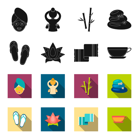 Flip-flops for the pool, lotus flower with petals, yellow towel with fringe, cup with tea, drink. Spa set collection icons in black,flet style bitmap symbol stock illustration web.