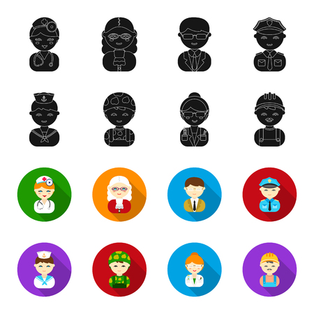 Sailor, soldier, scientist, builder.Profession set collection icons in black,flet style bitmap symbol stock illustration web. Stok Fotoğraf