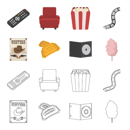Western cinema, tickets, sweet cotton wool, film on DVD.Filmy and cinema set collection icons in cartoon,outline style bitmap symbol stock illustration . Stockfoto