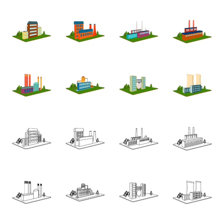 Processing factory,metallurgical plant. Factory and industry set collection icons in cartoon,outline style isometric bitmap symbol stock illustration web.