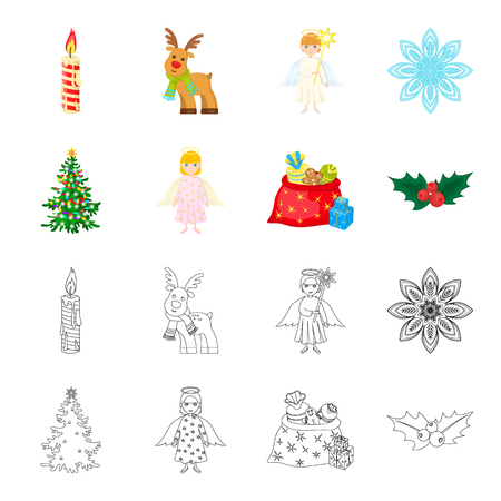 Christmas tree, angel, gifts and holly cartoon,outline icons in set collection for design. Christmas bitmap symbol stock web illustration. Фото со стока