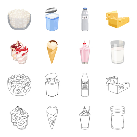Milk, Calcium, Product, Food .Milk product and sweet set collection icons in cartoon,outline style bitmap symbol stock illustration web. Stock fotó - 107036369