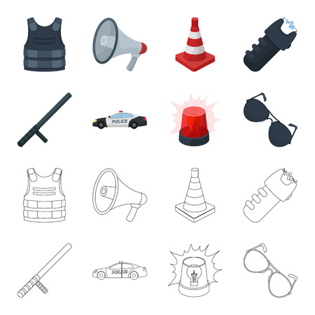 Police baton, auto, flasher, glasses.Police set collection icons in cartoon,outline style bitmap symbol stock illustration web.