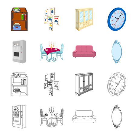 Coffee maker, served table in the restaurant and other web icon in cartoon,outline style isometric.Soft comfortable sofa, wall mirror icons in set collection.