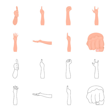Sign Language cartoon,outline icons in set collection for design.Emotional part of communication bitmap symbol stock web illustration.