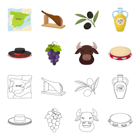 The hat of the todeador, the matador, a bunch of grapes with fists, a bull for the Spanish bullfight, a tambourine. Spain country set collection icons in cartoon,outline style bitmap symbol stock illustration web.