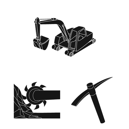 Mining industry black icons in set collection for design. Equipment and tools vector symbol stock web illustration. Vectores