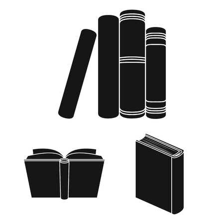 Book bound black icons in set collection for design. Printed products vector symbol stock web illustration. Stock Illustratie