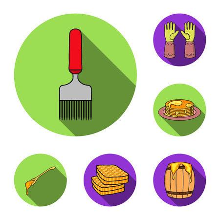 Apiary and beekeeping flat icons in set collection for design.Equipment and production of honey vector symbol stock web illustration. Stock Illustratie