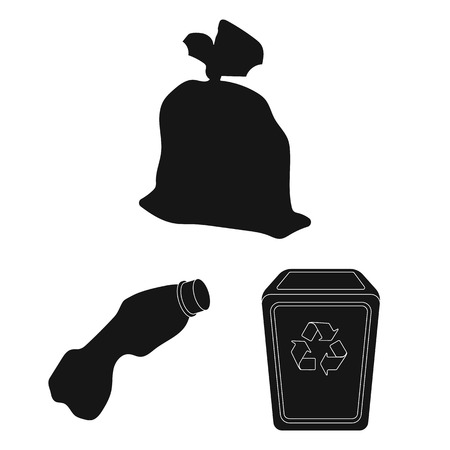 Garbage and waste black icons in set collection for design. Cleaning garbage vector symbol stock web illustration.
