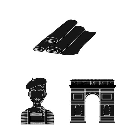 país francia iconos negros en serie de colección para el diseño. ilustración vectorial y la página web símbolo de la representación .