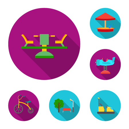 Playground, entertainment flat icons in set collection for design. Attraction and equipment vector symbol stock web illustration.