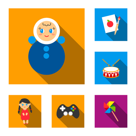 Children toy flat icons in set collection for design. Game and bauble vector symbol stock web illustration. Ilustrace