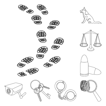 Prison and the criminaloutline icons in set collection for design.Prison and Attributes vector symbol stock web illustration.