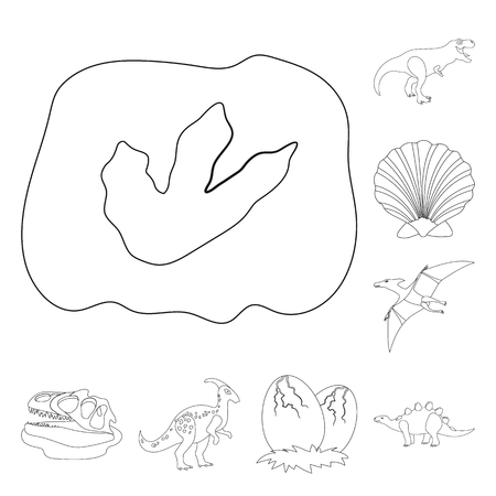 Different dinosaurs outline icons in set collection for design. Prehistoric animal vector symbol stock web illustration. Ilustrace