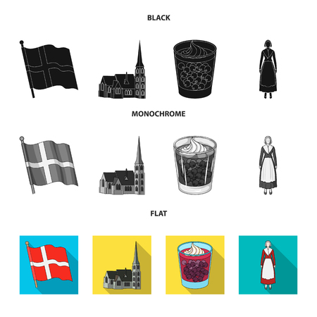 Flag, national, symbol, and other web icon in black, flat, monochrome style.Denmark,history, tourism, icons in set collection.