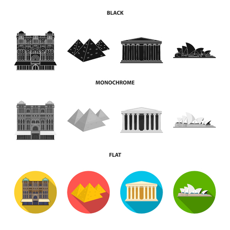 Sights of different countries black, flat, monochrome icons in set collection for design. Famous building vector symbol stock web illustration.  イラスト・ベクター素材