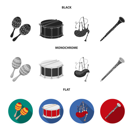 Maracas, drum, Scottish bagpipes, clarinet. Musical instruments set collection icons in black, flat, monochrome style vector symbol stock illustration web.