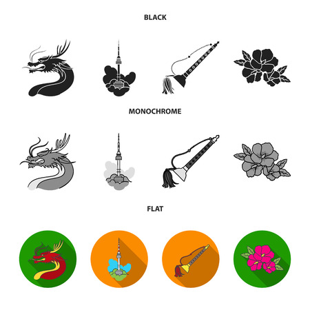Dragon with mustache, Seoul tower, national musical instrument, hibiscus flower. South Korea set collection icons in black, flat, monochrome style vector symbol stock illustration web.