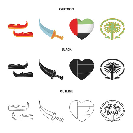Eastern shoes, dagger, the heart of the emirates,Palm Jumeirah.Arab emirates set collection icons in cartoon,black,outline style vector symbol stock illustration web.