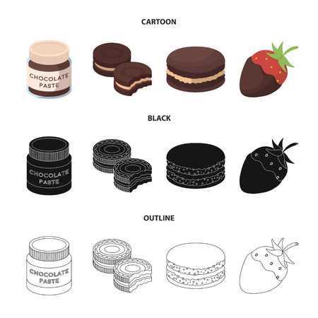 Chocolate pasta, biscuit, strawberry in chocolate, hamburger. Chocolate desserts set collection icons in cartoon,black,outline style vector symbol stock illustration web.