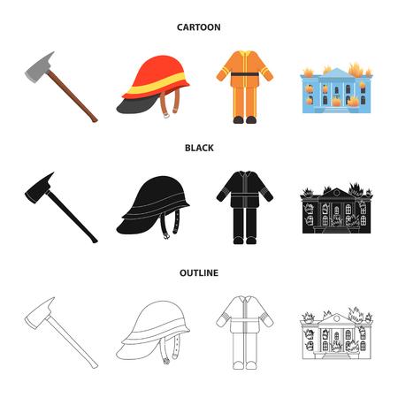 Ax, helmet, uniform, burning building. Fire departmentset set collection icons in cartoon,black,outline style vector symbol stock illustration web.