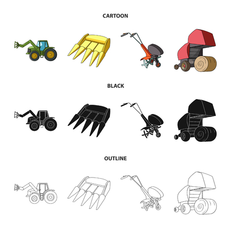 Motoblock and other agricultural devices. Agricultural machinery set collection icons in cartoon,black,outline style vector symbol stock illustration web. Illustration