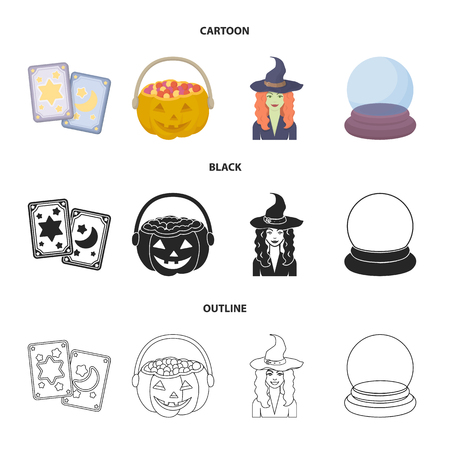 Tarot cards, holiday halloween, magician in a hat, crystal ball. Black and white magic set collection icons in cartoon,black,outline style vector symbol stock illustration web.