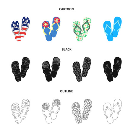 Flip-flops cartoon,black,outline icons in set collection for design. Beach shoes vector symbol stock web illustration.