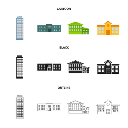 Skyscraper, police, hotel, school.Building set collection icons in cartoon,black,outline style vector symbol stock illustration web. Standard-Bild - 107103268