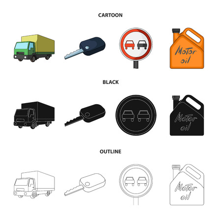 Truck with awning, ignition key, prohibitory sign, engine oil in canister, Vehicle set collection icons in cartoon,black,outline style vector symbol stock illustration web.
