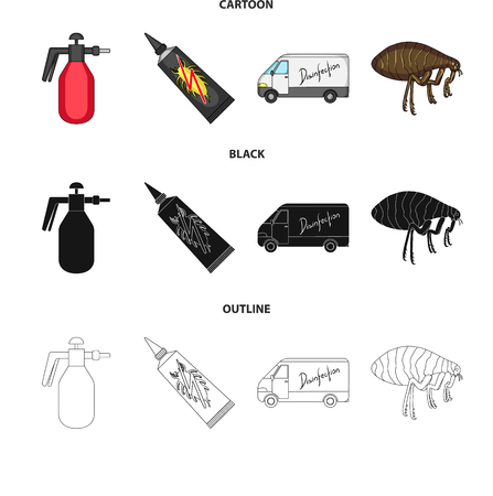 Flea, special car and equipment cartoon,black,outline icons in set collection for design. Pest Control Service vector symbol stock web illustration. Vectores
