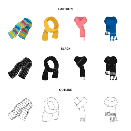 Various kinds of scarves, scarves and shawls. Scarves and shawls set collection icons in cartoon,black,outline style vector symbol stock illustration web. Stock Illustratie